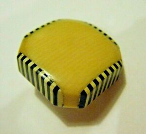 "Vintage 1930s Modern Deco 1"" Butterscotch Celluloid Button with Laminated Edges"