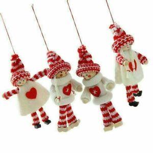 2PCS Christmas Hanging Ornament Santa Claus Snowman Doll Xmas Tree Decor Gift