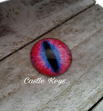 "Eye Cabochon Dragon Eye Cabochon 25mm 1"" Round Glass Cabochon Domed Pink Blue"