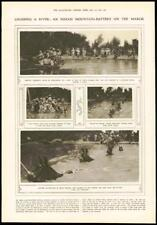 1916 - Antique Print INDIA Mountain Battery Mules Team River Raft   (112)