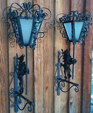Antique Hanging Black Wall Sconces,Roaring Lion,Matching Pair **Mid-Evil Style**