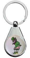 CHEEKY IRISH LEPRECHAUN CHROME POLISHED KEYRING PEAR STYLE SHAPE