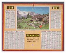 ALMANACH CALENDRIER  PTT  1961 BE-  ANNIVERSAIRE