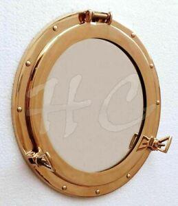 """15"""" Brass Porthole Round Window Glass Maritime Boat Ship's Porthole Mirror"""