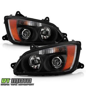 2008-2017 Kenworth T660 Black Projector Headlight Headlamps Pair Set Left+Right