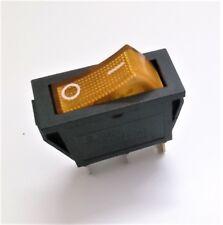 Interruptor Basculante Unipolar - Luminoso - 15A 250V - 20A 125V - Tecla Ambar