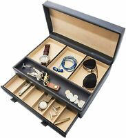 Stock Your Home Watch Box with Valet Drawer for Dresser - Mens Jewelry Box