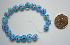 Perlas círculo cristal milflores 8 mm X 19 UNIDADES azul turquesa abalorios