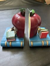 School Teacher Apple Book Ends , Set Of 2 Heavy Weighted