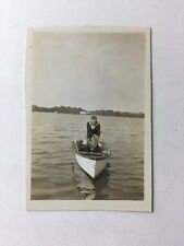 Vintage Real Photograph From Named Album Hucknall #AA - Naval Sailor Rowboat