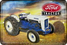 "Ford Tractor Farm Equipment 8"" x 12"" Metal Sign Garage Embossed Plaque Decor"