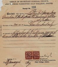 INDIA INDORE DAILY COLLEGE  MEMBERSHIP FEE RECEIPT OF MAHARAJA OF DHAR 1935#3847