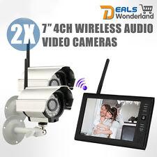 "7"" TFT Digital 2.4G Wireless IR Cameras Security Baby Monitors 4CH Quad DVR 2V1"