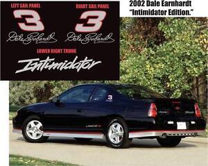 2002 1:1 MONTE CARLO DALE EARNHARDT SIGNATURE NASCAR INTIMIDATOR DECALS STICKERS