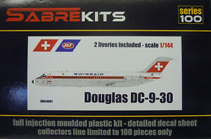 Douglas DC-9-30, Swissair, Jat, 1/144, Sabre Kits, Plastic, New