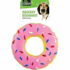 """5"""" Squeaky Doughnut Dog Toy Fun Play Strong Rubber Puppy Chew Squeaker Donut Pet"""
