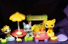 Littlest Pet Shop #855 Cat #856 Ladybug #857 Dog Lemonade Stand & Pets No Sign