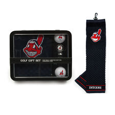 Cleveland Indians Golf Gift Set [NEW] MLB Towel Ball Divot Bag Golfing Tin