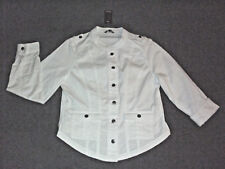 Katies: Size: 12-14. Modern White 2 Front Pockets, Metal-Button Military Jacket
