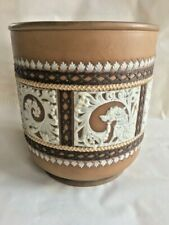 ANTIQUE DOULTON LAMBETH BROWN/WHITE JASPERWARE CACHEPOT WITH GRIFFONS