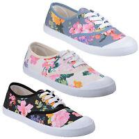 Divaz Ellie Flower Print Pumps Womens Classic Summer Plimsole Canvas Shoes UK3-8