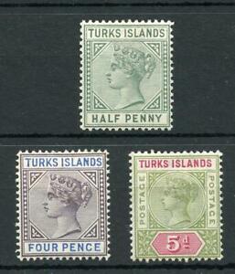 Turks Island 1889-93 set SG70/72 MM cat £40