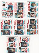 1978 Topps LOT of 8 NHL LEADERS Cards NM/MT DRYDEN LaFLEUR BOSSY TROTTIER