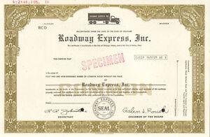 Roadway Express > Akron Ohio trucking company stock certificate > now YRC