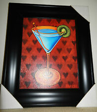 "Will Rafuse ""Martini Royale - Hearts"" Framed Art Print 19.25"" x 16.25"" - New"