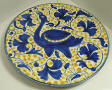 kk194 ART POTTERY B&W CERAMIC PLATE WITH BIRD MOTIF