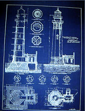 "North Head Lighthouse Portland Oregon 1896 Print Blueprint Plan 18"" x 22"" (221)"