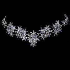 Sterling Silver 925 Genuine Blue Violet Tanzanite Cluster Necklace 20.5 Inch