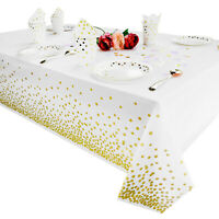 Plastic Tablecloth for parties, Gold, white dot decorations disposable