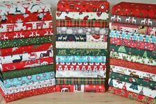 CHRISTMAS FABRIC PATCHWORK QUILTING CRAFTS REMNANTS BUNDLE 100% COTTON SCRAPS 6""