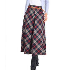 Autumn Winter Women Warm Woolen Plaid A-Line Longuette Long Maxi Full Skirt New