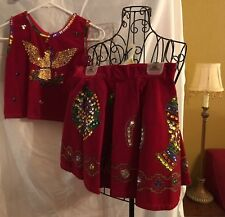 Vintage child's hand sequined & painted western Mexican themed red dance costume