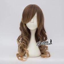 55CM Lolita Brown Mixed Flaxen Long Party Curly Women Ombre Cosplay Hair Wig+Cap