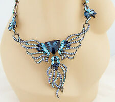 ONYX 19in BLUE MULTI COLOR CRYSTAL NECKLACE CLIP EARRINGS SILVER JEWELRY SET NEW