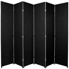 Woven Room Divider Screen Black 6 Panel