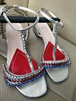 GUCCI Bertie Crystal Embellished Metallic Silver Leather Strappy Sandals Love
