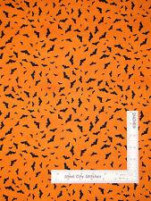 Halloween Fabric - Flying Bat Orange 84382 Wilmington Something Wicked - Yard
