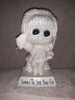 Sorry to See You Go 1973 Big Eyed Girl Figurine Gift 9072 W Russ Berrie