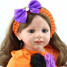 24 inch Reborn Baby Long Hair Girl Dolls Blue Eyes Vinyl Silicon Toddler Babies