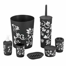 7 Piece Bathroom Accessory Set Black White Floral Trash Toothbrush Soap Dish New