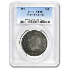 1806 Draped Bust Half Dollar Pointed 6, Stems VF-20 PCGS