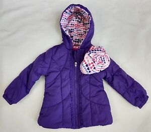 London Fog Girls Hood Jacket Puffer Purple Zip Print Hat Pockets (3 Sizes) NEW