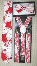 Blood Splattered Paint Ball Adjustable Bow Tie,Neck Tie, &Y-Back Adj Suspenders