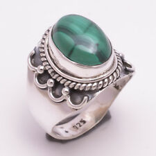 925 Sterling Silver Ring Size US 7, Natural Malachit Gemstone Jewelry Gift R1251