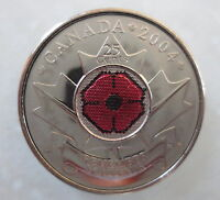 2004 CANADA 25¢ POPPY COLORED QUARTER UNCIRCULATED FROM MINT ROLL