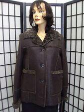 ! SHOWROOM NEW BROWN LAMB SHEEPSKIN SHEARING FUR JACKET COAT WOMEN SIZE 6-8